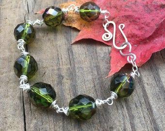 Green Glass Beaded Bohemian Tribal Bracelet Boho Chic Jewelry Sterling Silver Clasp