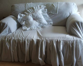 shabby chic couch slipcover, throw