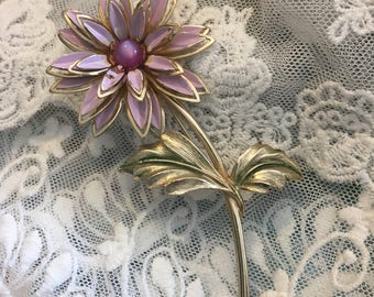 Large Vintage Flower Pin / Brooch Lavender