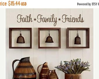 20% OFF Faith Family Friends -Vinyl Lettering wall words graphics Home decor itswritteninvinyl