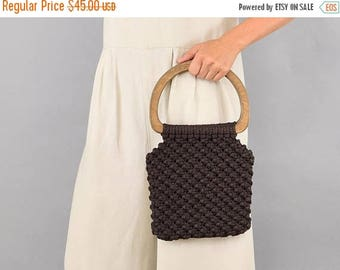SUMMER SALE 70's Chocolate Macramé Handbag