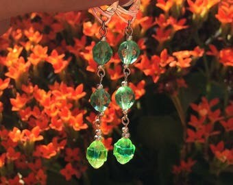 Lime green faceted glass earrings