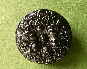 Six Vintage Czech Glass Black Buttons  for Crafts and Sewing