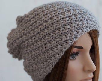 Boho Knitted Hat, Knit Hat, Slouchy Light Grey Hat, Handknit Textured Hat