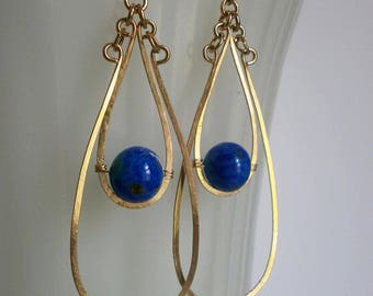 Long Gold Double Teardrop Earrings Lapis Blue Venetian Bead Earrings Long Gold Hoop Dangles Wire Jewelry Gold Statement Jewelry