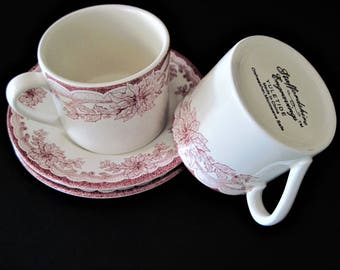 Staffordshire Cups, Yuletide Saucers, Christmas Cups, Cups and Saucers, Engravings China, Transferware Cups, Staffordshire China, Holiday