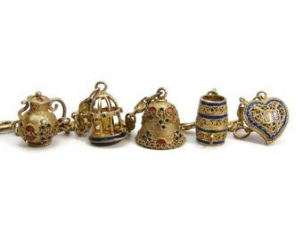 Vintage Silver Enamel Charm Bracelet, Bird Cage, Heart Charm, Bell Charm, Charms for Charm Bracelet, Chinese Silver, Estate Jewelry