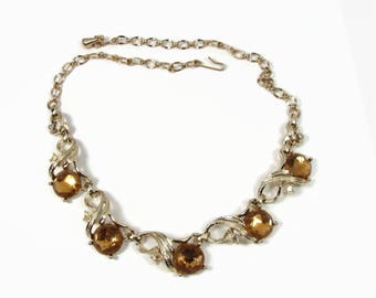 Sarah Coventry 1960 Gold N Glory Topaz Rhinestone Necklace