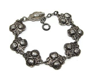 Vintage Sterling Silver Rosary Bracelet, Roses & Saints, Miraculous Mary Medal, 7.5 Inch, MDE Jean Repousse Sterling, Catholic Jewelry