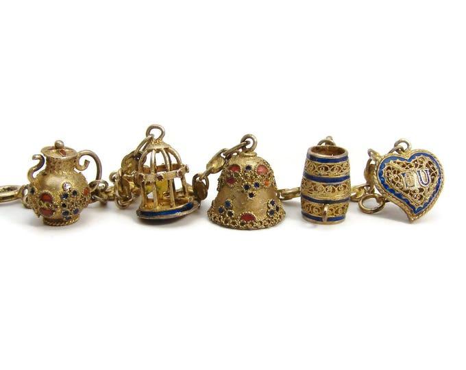 Vintage Chinese Silver Enamel Charm Bracelet