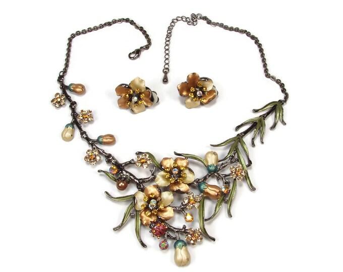 Rhinestone & Enamel Flower Necklace Matching Earrings