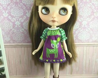 Blythe Smock Dress - Green Deer