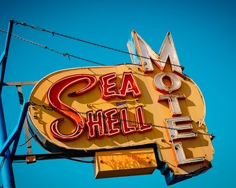 Sea Shell Motel Sign Print   Mid Century Modern Art   Wildwood NJ   Neon Sign Art   Candy Art   Retro Wall Art   Neon Sign   Beach Decor
