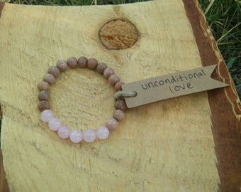 Unconditional Love, Rose Quartz and Wood Bracelet