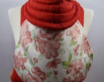 MEI TAI Baby Carrier / Sling  / Reversible / Floral Dreams with Red in  straight cut model / 100% Cotton / Made in UK