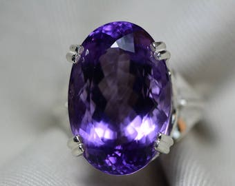 Amethyst Ring, Certified 21.19 Carat Amethyst Ring Appraised At 1,050.00 Sterling Silver Size 7, February Birthstone, Purple, Oval Cut