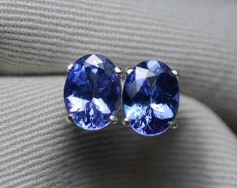 Tanzanite Earrings, 3.51 Carat Tanzanite Stud Earrings, Oval Cut, Sterling Silver, IGI Certified, Genuine Real Natural Tanzanite Jewelry