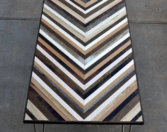 Chevron Desk with Hairpin legs - Reserved for Ronnie