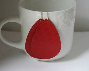 Red Dot Leather Teardrop Drop Earrings