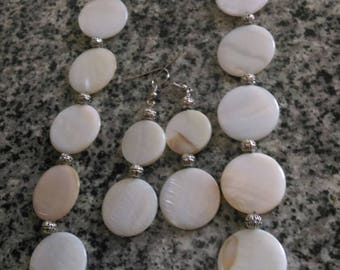 White Medallion Shell Necklace and Earrings