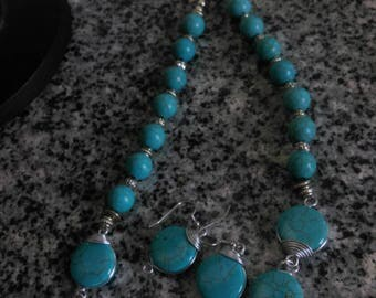 Howlite Turquoise Necklace Set with Silver Accents