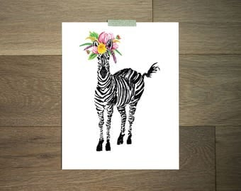 Watercolor animal art print - 8 x 10 - black and white - zebra- flower crown