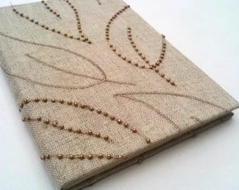 Natural notebook, journal, linen, beads, recycled, single signature, A6