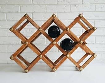 Vintage Rustic Wood and Brass 8 Bottle Accordion Wine Rack - Expandable Wood Wine Rack - Wine Accessory - Modern Farmhousep Decor