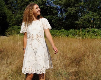 70's Boho Venetian Lace Embroidered Mini Dress