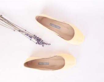 Summer Sale Yellow Leather Ballet Flats | Leather Shoes | Light Butter Yellow | Last Pair eu 38 | Ready to Ship