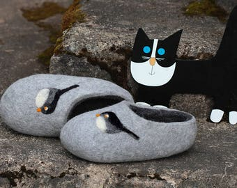 Felted Wool  Slippers in Gray with Birds Decor. Size EU 39; EU 40 ready to ship.
