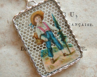 Fiona & The Fig - Victorian - Die Cut Scrap - Soldered Charm - Necklace - Pendant-Jewelry