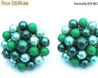25% Off Vintage Green and Teal Beaded Cluster Earrings, Clip on Pierced Conversion Available