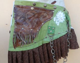 "20%OFF bohemian tribal gypsy fringed leather belt..44"" to 50"" waist or hips.."