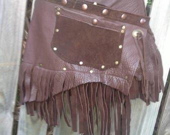 "20%OFF ..BURNING Man festival ,Coachella festival.  gypsy tribal boho  leather mini skirt/belt with studs... 40'' to 48"" hip o"