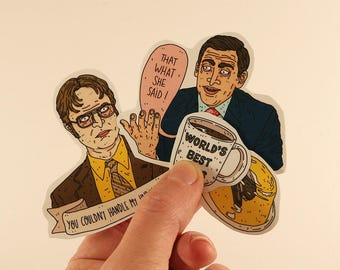 the office stickers laptop labels tags - michael scott dwight schrute illustration