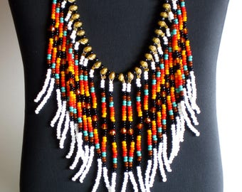 Native American Necklace, Beaded Necklace, Native American Jewelry, Boho Necklace, Statement Necklace, Tribal Necklace