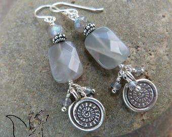 Silver and stone natural labradorite silver spiral charms