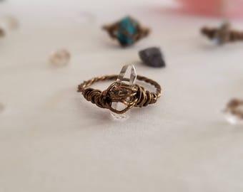 Wire Wrapped Quartz Ring