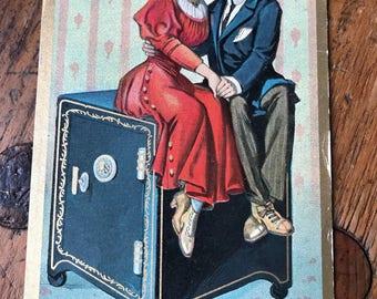 "1909 ""A Safe Investment Vintage Valentine's Romance and Love Postcard"