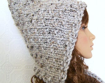 Pixie hat - hand knit hat - gray marble - women's winter accessories handmade  by Sandy Coastal Designs ready to ship