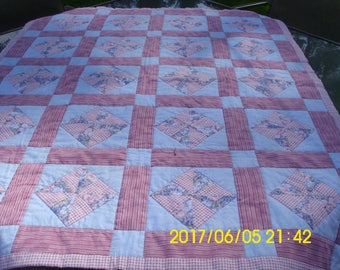 Vintage Pinwheel Quilt / Crib Quilt / Play Pad /  Pink and Blue Quilt / Hand Quilted / Pre-Used / Baby Quilt / Carriage Quilt / Wall Hanging