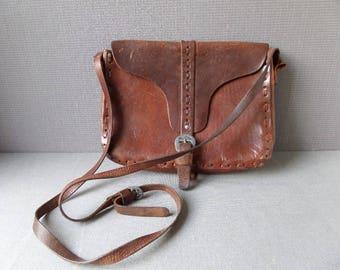 French Vintage Men's  Leather Shoulder Bag French Shoulder Bag 1960s