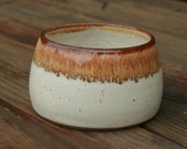 Pottery Spaniel Bowl Long Earred Dog Dish White Glaze No Tip Dog Bowl