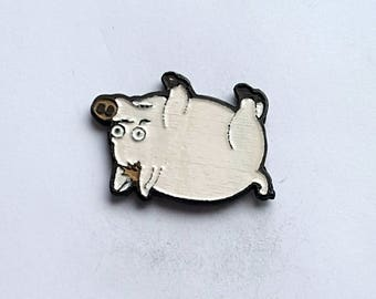 Hand Cast Spider Pig Lapel Pin