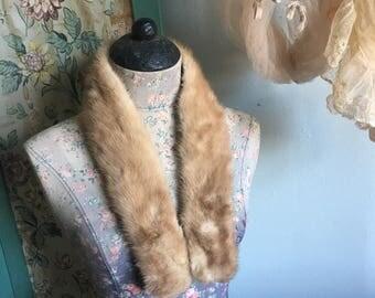 Vintage Blonde Real MINK FUR Stole Collar A19