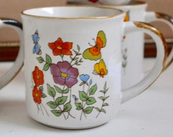 Set of 4 Springtime Flowered Mugs