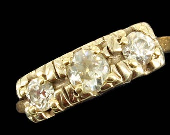 Antique Deco 14K White  Yellow & Gold 3 Diamonds Wedding Band Ring .52 CTTW 6.75
