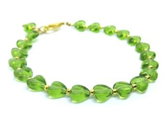 Green Hearts Beaded Bracelet