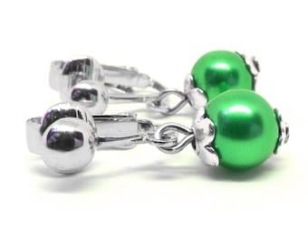 Green Glass Pearl Clip On Earrings - Non-Pierced Ears